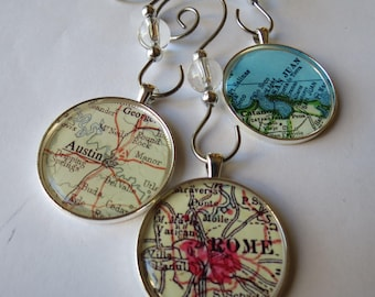 Christmas Ornaments Personalized with Vintage Maps, 3 Medium Men Custom Ornaments, Father Gift, Location Ornaments, California Ornament