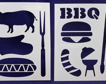 BBQ/Grilling Stencils- 2 Pc Set- 8 x 10 -14 mil Mylar Painting/Crafts