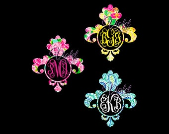 Fleurdelise Decal-Vine Monogram-Yeti Decal- Laptop Decal-Window Decal-Lilly Inspired-Monogram