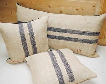 Authentic Grain Sack Pillow Cover / Antique linen / Navy Blue Stripes / Handwoven hemp fabric /Handmade Grainsack Pillow Sham - 2S