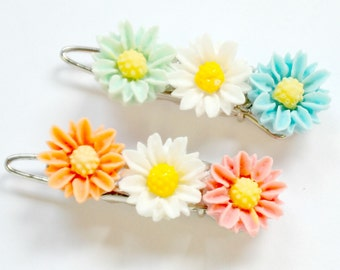 Barrettes for Girls, Little flower Barrettes, Barrettes for Kids, Cool birthday gift for kids, Little Daisy Barrettes, Flower Girl Gift