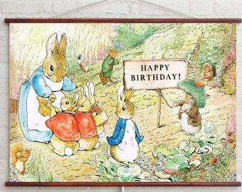 Happy Birthday Banner DIGITAL, Peter Rabbit Backdrop,  Personalised Peter Rabbit Party,  Beatrix Potter Party Banner, Instant Download