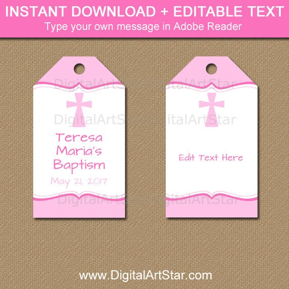 Girl baptism tags pink baptism gift tags girl christening zoom negle Image collections