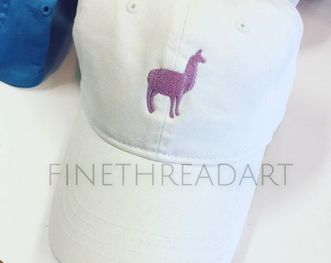 Featured listing image: Llama Alpaca Cap Hat FABRIC strap Adult or Ladies Size Farm