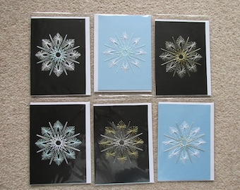 Greetings Card *Made in UK* Blank Occasions Winter Christmas *Hand Stitched Snow Flake*