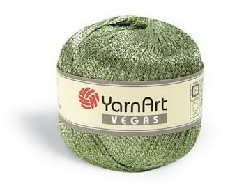 Viscose yarn VEGAS YarnArt Knitting yarn Crochet gloss thread Lurex yarn Gloss yarn Sparkle rayon yarn Shine knitting yarn Glitter yarn