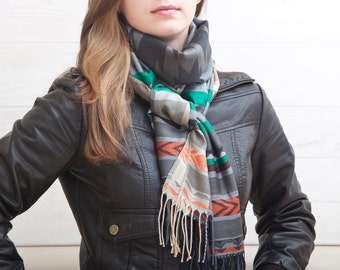 Tribal Scarf, Blanket winter Scarf, Warm Scarf Shawl, Valentine's Day Gift, fashion scarf, Womens Gift, Autumn Scarf, Mother Day Gift