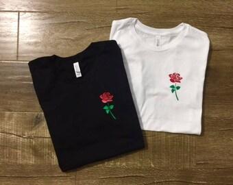 Rose Shirt - Womens Shirts, Unisex Tees, Feminist Feminism Shirt Rose Tees Flowers Plants Roses Strength Girls Female Tops Garden Plant