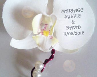 Wire aluminum and customize Orchid boutonniere