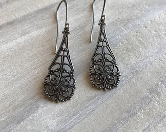Art Nouveau Floral Earrings, Silver, Art Deco, Filigree, Vintage Style