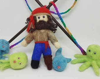 Pirate P Mobile, Needle felted, Handmade, Soft sculpture