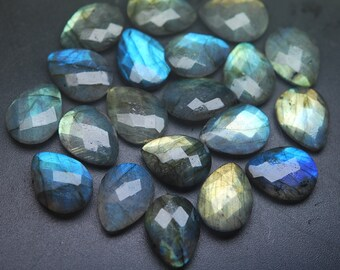 Side Drilled,10 Beads,Matched Pairs,Super Finest Blue Flash Labradorite  Faceted Pear Shape Briolettes Size 12x16mm aprx