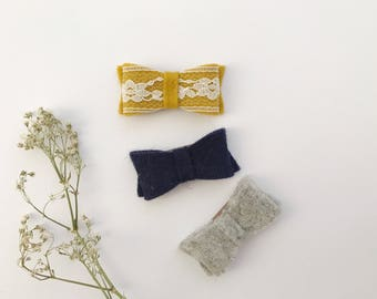 Trio earring in wool on hair clip - baby girl and child - ochre and lace, Navy Blue, light grey