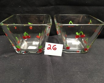 Cherry Small Square Bowls