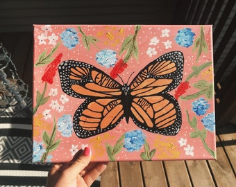 Monarch and Blooms Original Acrylic Painting