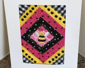 Bumble Bee Patchwork Greeting Card