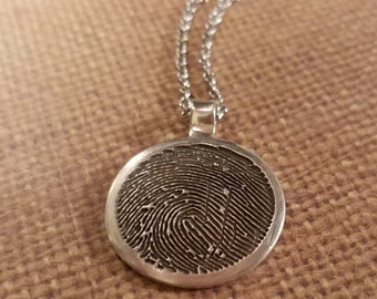 INK-1 LARGE framed FINGERPRINT Round Necklace in solid Fine .999 Silver-includes chain