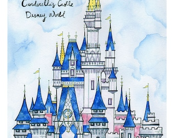CINDERELLA'S CASTLE DISNEYWORLD Print 11X14 Ink and Watercolor Painting