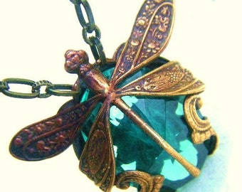 Dragonfly Necklace-Harvest Pattern Art Nouveau with Blue Green Glass Stone many colors available made to order