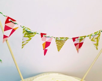 Whimsical Cake Bunting- Modern Pink Ferns, beach party, shower, wedding, topper, pennants, summer, girls, garden, birthday green, dinner