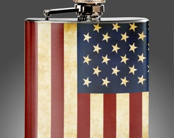 American Flag Flask - Whiskey Flasks - , Wedding  Flasks, Party Gifts, Groomsman , Stainless Steel 6 oz Liquor Hip Flask