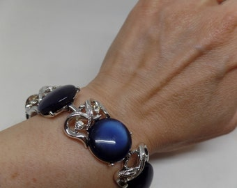CORO Signed Vintage Blue Thermoset and Crystal Bracelet