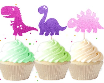 Mixed Pink Dinosaur Cupcake Toppers - Girl Dinosaur Birthday Cupcake Toppers, 1st Birthday, Dinosaur Birthday, Dinosaur Party, Pink Dinosaur