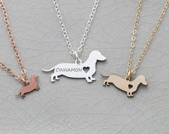 Dachshund Necklace • Doxie Gift Dachshund Jewelry • Doxie Sausage Dog Wiener Personalized Dachshund Pet Charm Dog Necklace Sterling Pet