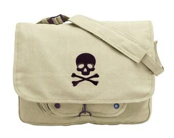 Skull and Crossbones Embroidered Canvas Messenger Bag