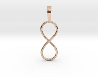 Infinity Necklace Pendant | Small Infinity Symbol Charm | 3D Printed Womens & Mens Jewelry | Rose Gold | Gold | Silver | Bronze
