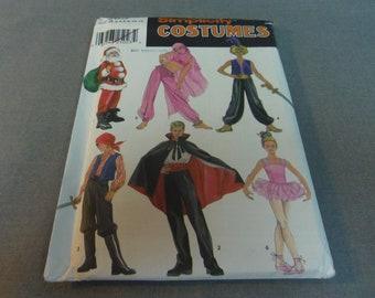 Girls and Boys Santa, Genie, Aladdin, Pirate, Vampire, Ballerina Costumes, Size 2 - 4, 6 - 8, 10 - 12, Uncut, Simplicity 9803, 2001