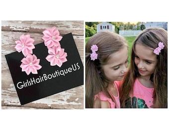 Flower pink hair clips Flower girl pink hair clips Pink flower hair clips for girls Girl pink hair clips Flower girl hair accessories