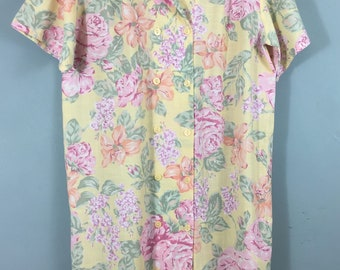 M&S 1980s vintage yellow floral dress UK 16/18 Double breasted St Michael