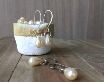Faux Pearl Earrings • Sterling Silver or Pure Titanium earrings • Sensitive Ears • Anniversary Gift for Her • Bride earrings • Vegan jewelry