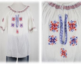Vintage Greek Peasant Blouse Large
