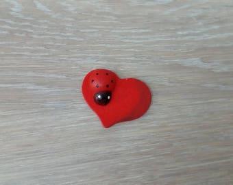 Ladybug wooden heart embellishment