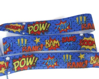 "Comic FOE, Fold Over Elastic, Zap, Bang, Pow, Super Hero Fabric, Lanyards, Hair Ties and Headbands, 5/8"" Wide Elastic"