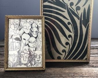 Set of vintage metal picture frames