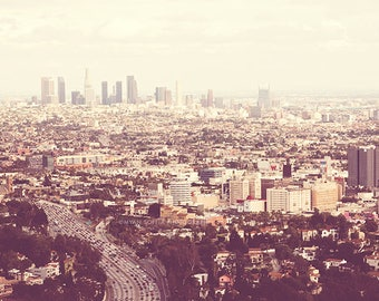 Los Angeles photography, LA skyline photograph, Los Angelenos urban cityscape pale neutral peach CA wall art downtown, Hollywood