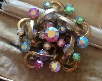 Aurora Borealis Brooch, Vintage Brooch, Crystal Brooch, Vintage Pin, Aurora Borealis, Gold Brooch, Estate Jewelry, Vintage Jewellery, Jewel