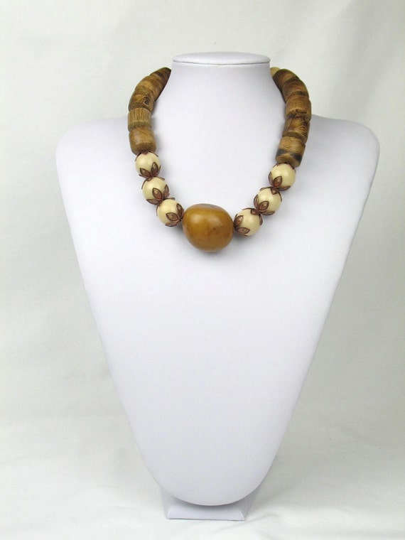 Statement Necklace in Brown and Ivory with Earthy Tagua Nut and Chunky Wood Beads