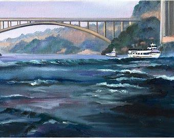 Original Oil Painting of Niagara Falls- 24x12in