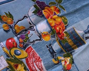 Vintage Varitex Tea Towel / Fruit & Jug / Linen / Hand Printed / NOS / Never Used / Made in Poland