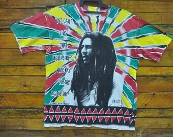 Rare Vintage 90s Bob Marley All Over Print T-Shirt,Size XL,Positif Vibration,Rasta T Shirt,Ikon And Legend Reggae,90s Swag Hip Hop,Gypsy