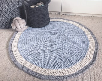 Handmade Round Rug, Crochet Rug Baby Play Mat, Nursery Area Rug, Chunky Cotton Rug, Nursery Decor, New Mom Baby Shower Gift