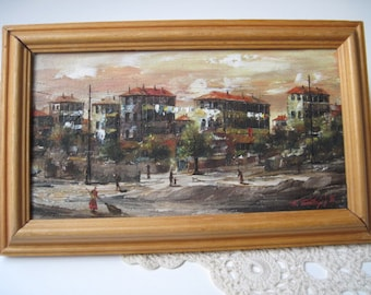 Vintage Small Signed European Street Scene Painting