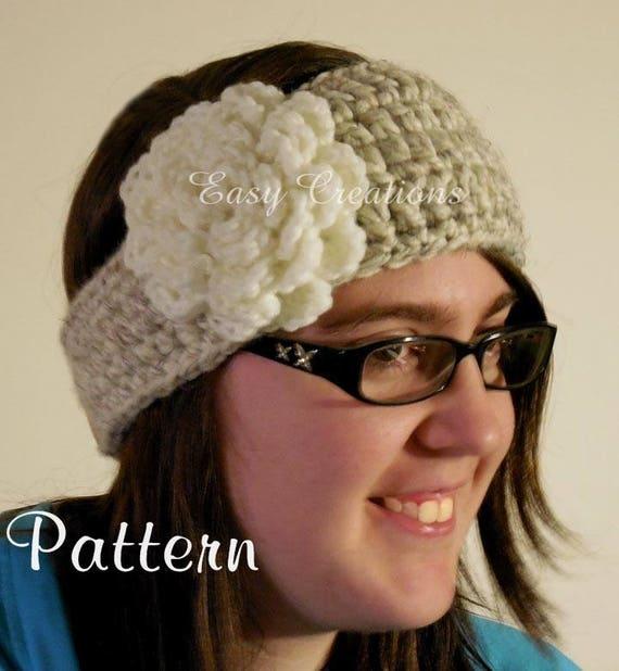 Crochet Pattern Headband Chunky Tapered Button Girl Girls Ladies