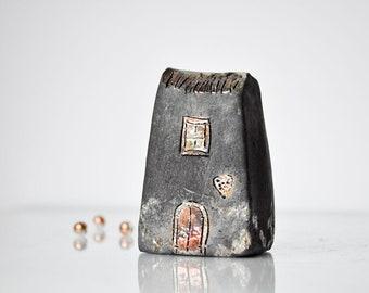Handmade Black Raku fired Ceramic houses with silver, gold  and copper glazes, Hand sculpted and raku or earthenware fired, Raku pottery