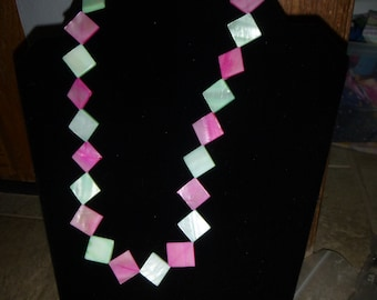 Pink and Green Jewelry Set: Necklace, Bracelet and Earrings