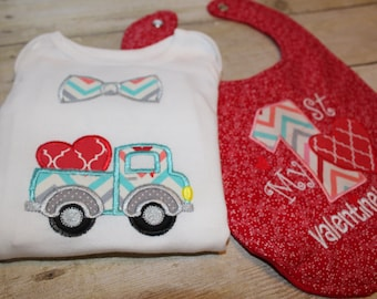 Personalized Baby Boy Embroidered Valentines Set - Buy One or Both - Onsie and Minky Backed Bib